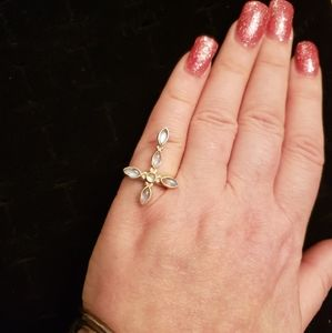 GENUINE Artisan Moonstone & .925 silv. cross ring